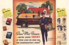 1941 Jewel Tea Man print ad Delivery Panel Van coffee by Vividiom, $9.00
