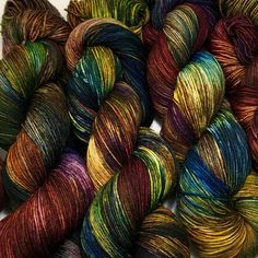 Hand dyed sock yarn, superwash merino & nylon, 463 yds / 100 grams. Warm fall colors. Great for knitting, crocheting, weaving. by ThreeSistersFiberCo on Etsy