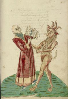 Theodas con il libro di magia e il diavolo, da seguace di Hans Schilling e Workshop di Diebold Lauber. Hagenau, Francia c 1469