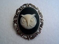 Owl Cameo Brooch by CreepsandGeeks on Etsy, $12.00