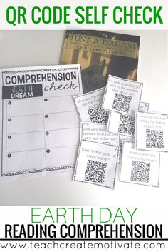 Students self check their reading comprehension about Earth Day with QR codes