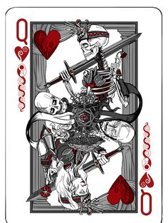 Jet City Limited is raising funds for Antithesis - A Deck of Playing Cards Printed by the USPCC on Kickstarter! A new deck of playing cards with original illustrations by Seattle artist & designer Adam Valmassoi, printed by the USPCC in the USA. Queen Of Hearts Tattoo, Queen Of Hearts Card, Queen Tattoo, Cool Playing Cards, Custom Playing Cards, Cool Cards, Card Tattoo, Heart Cards, Art Design
