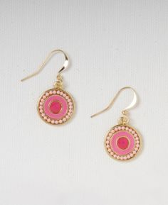Enamel Disc Drop Earrings