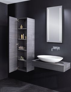 Bauhaus countertop wall hung vanity basin 'Edge' in Steel with matching bathroom storage cabinet