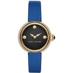 Marc Jacobs Women's Courtney Blue Leather Strap Watch 28mm MJ1434 (305 AUD) ❤ liked on Polyvore featuring jewelry, watches, gold, gold jewellery, dial watches, gold wristwatches, marc jacobs watches and marc jacobs jewelry