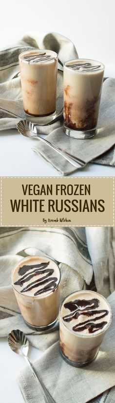 Frosty, creamy and sinful are words that come to mind for these Vegan Frozen White Russians, spiked with cake vodka and Kahlua. | crumbkitchen.com