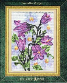 Purple Floral Bunch Tapestry Kit - Collection D'Art - 3041K - 14cm x 18cm