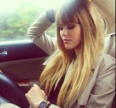 Blonde hair bangs