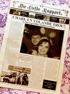 Trou Koerantjies - Afrikaans Newspaper Wedding Stationary, Wedding Programs, Afrikaans, Newspaper, Invitations, My Love, Day, Kids, Young Children