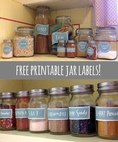 Free Printable Jar labels to organize your Pantry... by Emily Mcdowell. Black set available including Spice Jar label templates.
