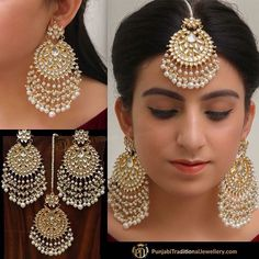 bridal jewelry for the radiant bride Tikka Jewelry, Indian Jewelry Earrings, Indian Jewelry Sets, Jewelry Design Earrings, Indian Wedding Jewelry, Fashion Earrings, Bridal Jewelry, Silver Jewelry, Silver Ring