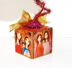 Nativities   Red Wooden Cube Ornament OOAK  Folk Art by FlorLarios