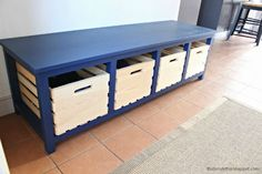 DIY shoe storage bench with free plans using Crates & Pallet crates.