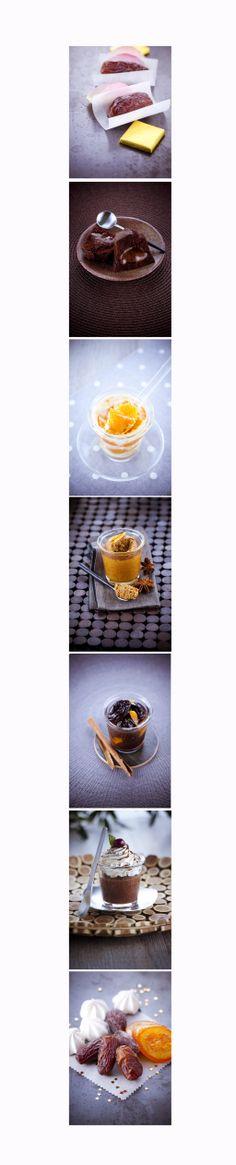 Palette de #desserts  #verrine #chocolat #vanille #fruits #gateaux  dessert aux chocolat aux caramel a l'orange a la cerise a la cannelle a la chantilly avec des fruits sec (orange, cerise..) pâte d'amande vannille ! plus d'imfos sur le site: http://www.marielys-lorthios.com/page/6/ #photographe #culinaire N'hésitez pas à « pinner »