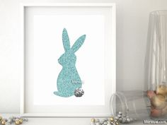 Robing egg bunny silhouette, Easter and spring decor Printed on luster photo paper, which is slightly glossy, fingerprint resistant and perfect for framing. Please note that this faux glitter efect is