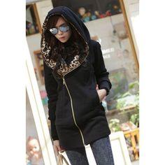 $29.21 Fashionable Hooded Leopard Print Long Sleeves Slant Zipper Thicken Cotton Blend Women's Coat