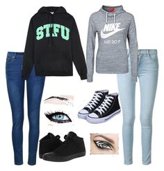 """""""Back to school outfits"""" by maggie319 ❤ liked on Polyvore featuring Frame Denim, Ally Fashion, NIKE, United Couture and Converse"""