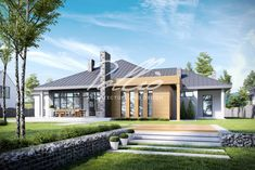 Visualizations of the house to the catalogue on Behance Modern Bungalow House, Bungalow House Plans, Modern House Design, Modern Houses, Beautiful House Plans, Beautiful Homes, Single Story Homes, 3d Design, Design Homes