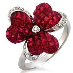 Flower Ruby Diamond Ring
