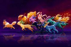 Art of Devin Elle Kurtz - Eevee's Rainbow Pokemon Team, Pokemon Pins, Pokemon Stuff, Pokemon Comics, Pokemon Eevee Evolutions, Pokemon Pictures, Catch Em All, Digimon, Just In Case