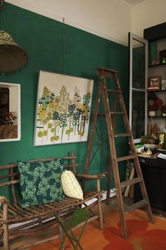 "Sneak Peek: Best of Ladders. ""Between both her home and shop, Sibella Court has not one but three ladders decorating her spaces."" #sneakpeek #ladders"