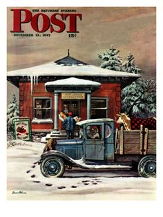 """Rural Post Office at Christmas"" By Stevan Dohanos. Issue: December 13, 1947. ©SEPS. Giclee print available at Art.com."