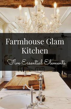 Farmhouse glam Kitchen - 5 essential elements, loads of inspiration & resources.  And BEFORE pictures of my renovation project. Come see!!