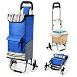 Upgraded Tri-wheel Folding Shopping Cart, Trolley Dolly Stair Climbing Cart Grocery Laundry Utility Cart with Wheel Bearings, for Go Up and Down Stairs