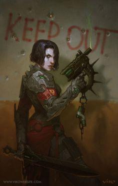 Cyberpunk, Girl Warrior, Dystopia, Girl with Gun, Keep Out by viko-br.deviantart.com