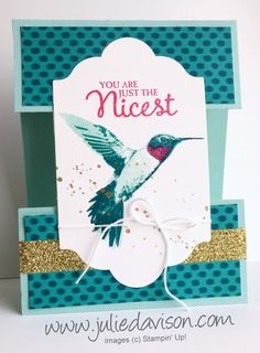 Stampin' Up! Picture Perfect Hummingbird Cut Apart Card #stampinup 2016 Occasions Catalog www.juliedavison.com