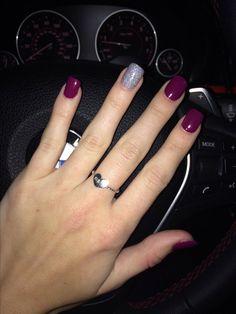 New Nails Gel Glitter Purple パープルネイルのアイデア Ideas Fancy Nails, Love Nails, Pretty Nails, My Nails, Hair And Nails, Shellac Nails Fall, Purple Nails, Color Nails, Purple Sparkle