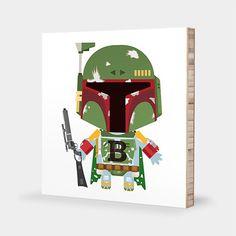 B or F for Boba Fett: ABC Block Bamboo Wall Art // Alphabet Kids Nursery Room Decor Star Wars Sci-fi