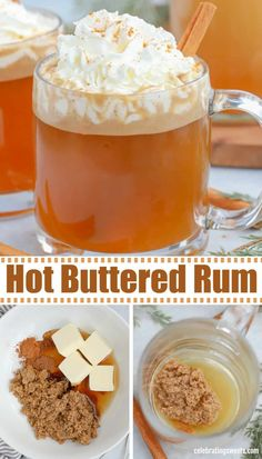 hot drink Hot Buttered Rum is a delicious cocktail flavored with butter, brown sugar, spices and vanilla. Christmas Drinks, Holiday Drinks, Holiday Recipes, Christmas Recipes, Rum Recipes, Alcohol Drink Recipes, Hot Drinks With Alcohol, Margarita Recipes, Mixed Drinks
