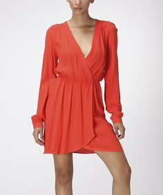 Another great find on #zulily! Coral Blouson Surplice Dress by Carapace #zulilyfinds
