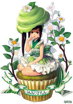 Anime picture with original obsidian long hair single tall image looking at viewer brown hair simple background white brown eyes sitting side ponytail licking frilly skirt food on face korean clothes girl dress flower (flowers) frills Anime Chibi, Kawaii Anime, Kawaii Chibi, Kawaii Art, Cute Food Art, Cute Art, Chibi Food, Cute Food Drawings, Arte Pop