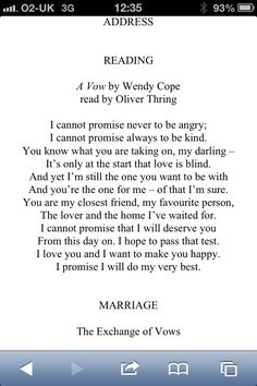 Wedding Poem Brought A Tear To My Eye Love Wendy Cope Weddingvows