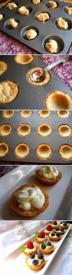 Mini Fruit Tarts with a Lemon Curd Mousse and a Shortbread Crust Great little dessert perfect for afternoon tea party Mini Desserts, Just Desserts, Delicious Desserts, Yummy Food, Tea Party Desserts, Cinnamon Desserts, Cinnamon Scones, Mini Dessert Recipes, Easter Desserts
