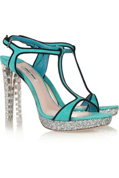Today's So Shoe Me is the Glitter and Crystal Embellished Suede Sandals by Miu Miu, $990, available at Net-a-Porter. A true blue shoe with shining clear crystals and glitzy silver sparkles fit for a modern-day Cinderella make these Miu Miu sandals a dream come true.