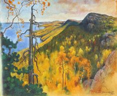 "Artist Eero Järnefelt - ""View from Koli"" Helene Schjerfbeck, Scandinavian Paintings, Scandinavian Art, Landscape Art, Landscape Paintings, Landscapes, Autumn Painting, Watercolor Painting, Impressionist Art"