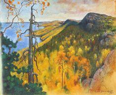 """""""View from Koli"""" (1923) by Eero Järnefelt - Eero Järnefelt on Albert Edelfeltin ja Akseli Gallen-Kallelan ohella Suomen tunnustetuimpia """"kultakauden mestareita"""".Hänet on koettu erityisen """"kansalliseksi"""" taiteilijaksi,hänen tuotantonsa painavimpana osana on pidetty 1890-luvun realistisia teoksia.Järnefelt oli hyvin monipuol.taiteilija: hän oli maisemamaalari,kansankuvaaja ja muotokuvaaja,kuului suomalaisen taidegrafiikan varhaisiin edustajiin ja suoritti merkittävän elämäntyön opettajana."""
