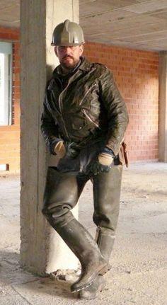 Hard Men, Wellies Boots, Men In Uniform, Leather Men, Leather Jackets, Leather Boots, Jeans And Boots, Sexy Men, Men Dress