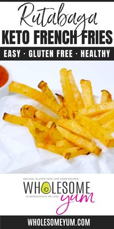 Low Carb Keto French Fries Recipe (Rutabaga Fries) - Rutabaga fries make the best keto french fries! You'll love the crispy exterior. These low carb fries have just 6 g net carbs! #wholesomeyum #keto #lowcarb #side #appetizer #fries
