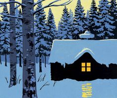 """Illustration blue gentle and snowy cabin- Andrew Davidson - Norwegian Christmas """"Be aware To Self"""" - Art And Illustration, Gravure Photo, Norwegian Christmas, Winter Art, Nocturne, Christmas Art, Cabin Christmas, Graphic, Printmaking"""