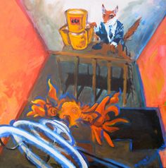 The Fox and The Fish ~ Bobby Swainston 2006 Bad Art, Goldfish, Fancy, Bobby, Canvas, Foxes, Painting, Clever, Smoke