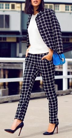 Plaid blazer with matching pants