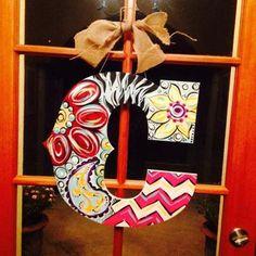 "Monogram ""C"" Custom ordered Handpainted wood Initial door hanger"
