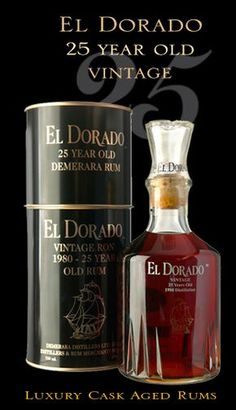 EL DORADO 25 year old demerara rum, luxury cask aged rums Vodka, Tequila, Cocktails, Alcoholic Drinks, Alcohol Bottles, Liquor Bottles, Scotch Whiskey, Bourbon Whiskey, Daiquiri