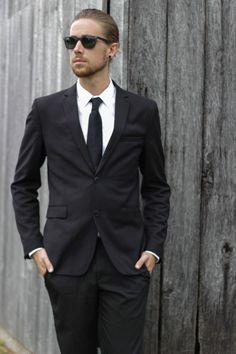 The Kentucky Gent in H&M Blazer, Calvin Klein Tie, Zara Oxford Shirt, Zara Black Slacks, Cole Haan Dress Shoes, Ray-Ban Wayfarers, and Soxy ...