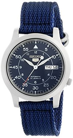 68% Off was $185.00, now is $59.81! Seiko Men's SNK807 Seiko 5 Automatic Blue Canvas Strap Watch