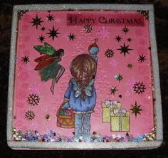 Stamped & coloured Xmas Shaker card